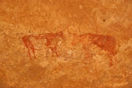 Rock painting, Libya Stock Photo