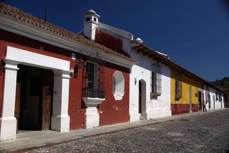 Street in Antigua, Guatemala Stock Photo