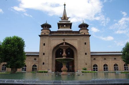 steeplechase: Mosque in Srinagar in Kashmir, India Stock Photo
