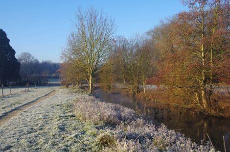 Rural landscape in winter near Paris in France