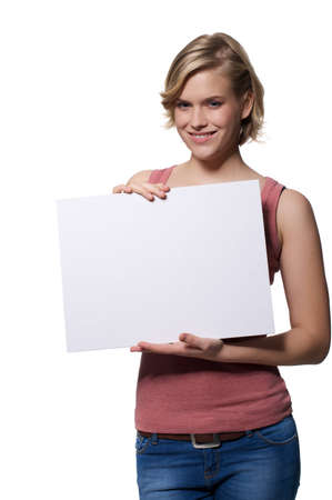 Attractive girl holding a billboard Stock Photo - 17156557
