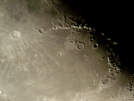 backround: Photo of the Moon surface as seen through telescope Stock Photo
