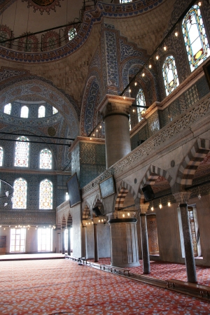 Details of the interior of Blue Mosque in Istanbul