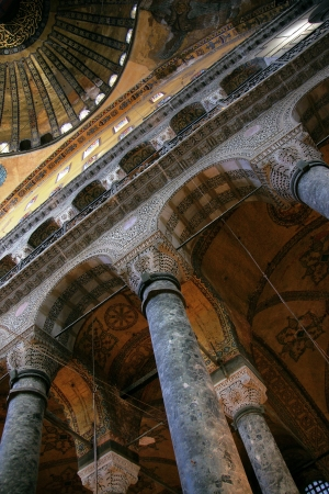 justinian: Details of the interior of Hagia Sophia in Istanbul Editorial