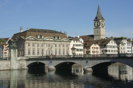 helvetica: River Limmat in Zurich, Switzerland Stock Photo