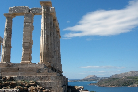 Ruins of Poseidon Temple in Sounion  Greece       photo