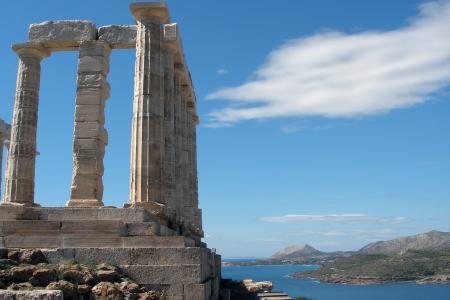 plato: Ruins of Poseidon Temple in Sounion  Greece