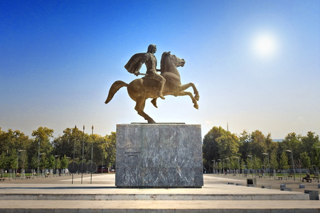 Statue of Alexander the Great, the famous king of Macedon, in Thessaloniki - Greece Stock Photo