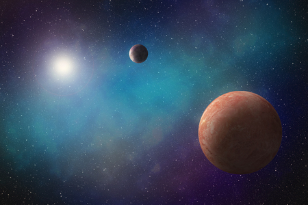 An artistic illustration of two imaginary exoplanets orbiting a bright star within a vast bluish nebula