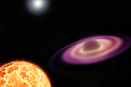 An artistic illustration of a neutron star with an impressive accretion disk and a nearby exploding white dwarf Stock Photo