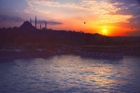 A romantic sunset in Istanbul, the historical metropolis in Bosporus