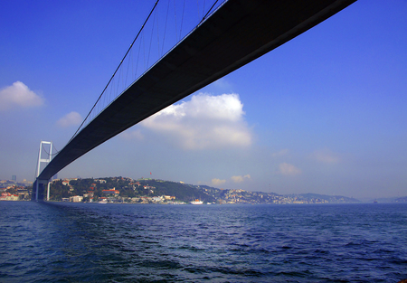 Panoramic view of the first intercontinental bridge of Bosporus in Istanbul Stok Fotoğraf