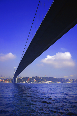 View of the first intercontinental bridge of Bosporus in Istanbul