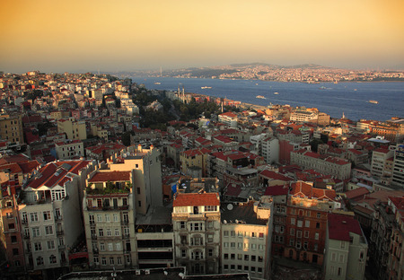 The historical region of Galata and the Bosporus in Istanbul Stok Fotoğraf