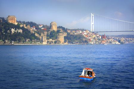Bosporus bridge and Rumeli Hisar castle in Istanbul