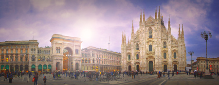Panorama of the main square (piazza) of Milan in Lombardy, Italy. It is named after the citys cathedral (Duomo) Editöryel