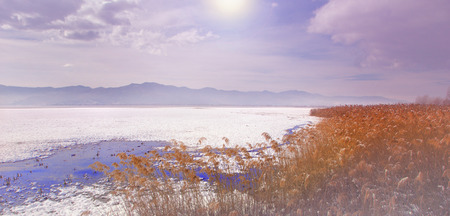 A romantic and dreamy sunrise on a cold winter`s day - Alaska USA