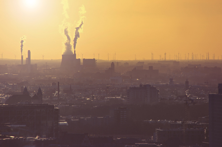 Air pollution from an industrial plant in Berlin, Germany Stok Fotoğraf