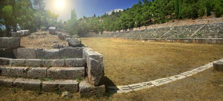The ancient stadium of Delphi, a world famous archaeological site in Greece
