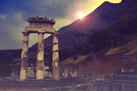 The ancient Tholos of Delphi, a world famous archaeological site in Greece