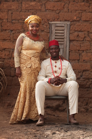 Married African couple takes their first official pictures as husband and wife. 版權商用圖片