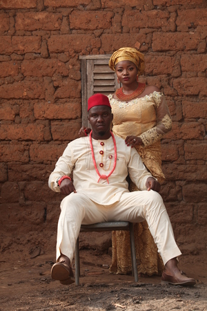 Married African couple takes their first official pictures as husband and wife. Stock fotó