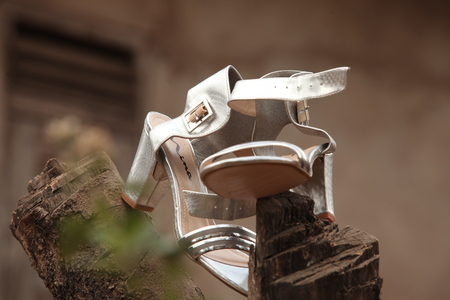 Silver coloured high heel sandals for the bride to use during a traditional wedding in Nigeria, Africa