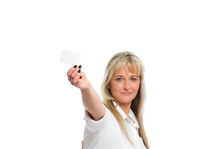 scheduling system: young blond businesswoman with a business card Stock Photo