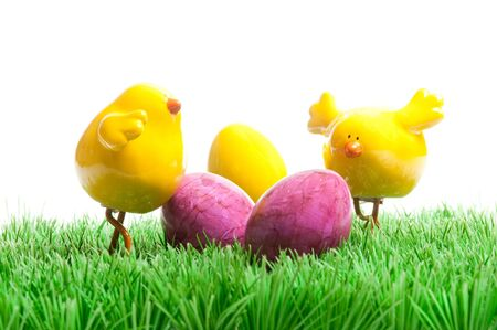 ei: decoration with a small yellow chick for easter Stock Photo