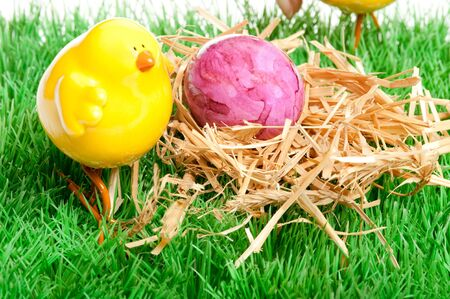 temporarily: decoration with a small yellow chick for easter Stock Photo