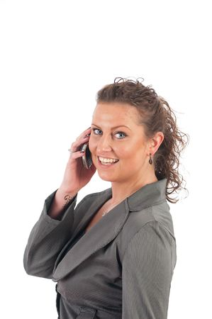 office force: Young blond business woman with her mobile phone