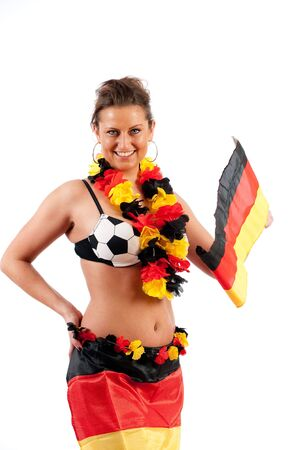 national colors: Sexy young soccer fan in the German national colors to cheer their fans Stock Photo