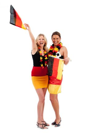 omitted: Sexy young soccer fan in the German national colors to cheer their fans Stock Photo