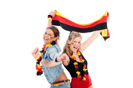 soccer wm: Sexy young soccer fan in the German national colors to cheer their fans Stock Photo