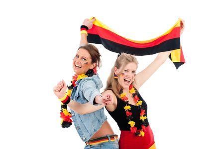 soccer wm: Ventilador de f�tbol joven sexy en los colores de la selecci�n alemanas para animar a sus fans Foto de archivo