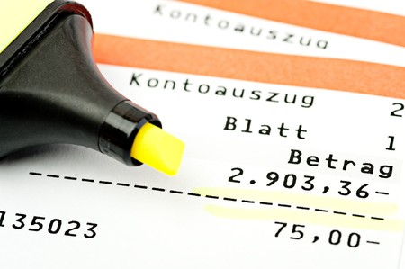bank statement: Close-up of a target position on a bank statement Stock Photo