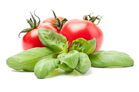 basils: Fresh tomatoes with basil