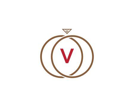 Letter V inside a ring icon. Illusztráció