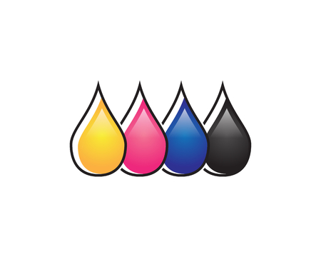 Colorful ink drops icon.
