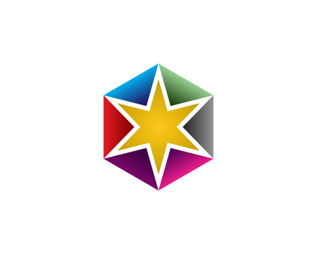 Star with colorful background icon