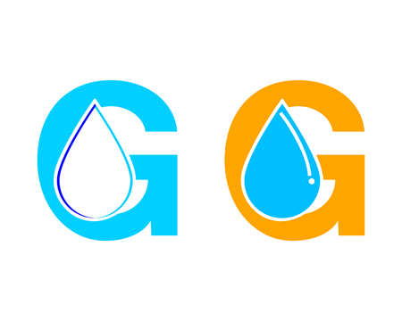 Set of Letter G water drop