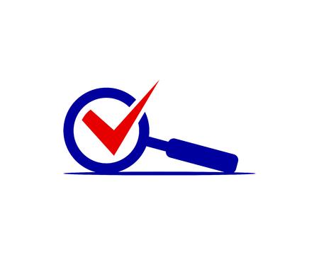 lente d'ingrandimento e segno di spunta vettore icona logo template