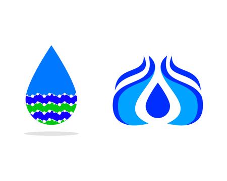 Set of Water drop Logo design vector template Logo