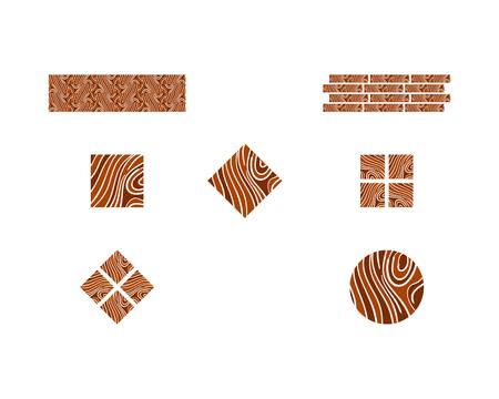 Set of Vector logo parquet, laminate, flooring, tiles