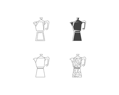 Set of Geyser coffee maker line icon, Coffee pot logo Иллюстрация