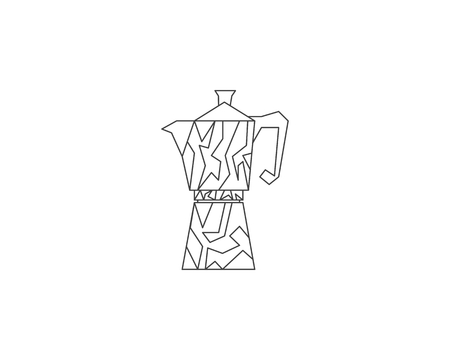 Geyser coffee maker line icon, Coffee pot logo
