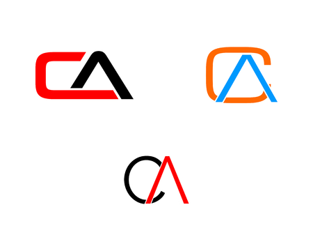 Set of Initial Letter CA Logo Template Design