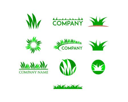 Ensemble de modèle de conception de logo d'herbe Logo