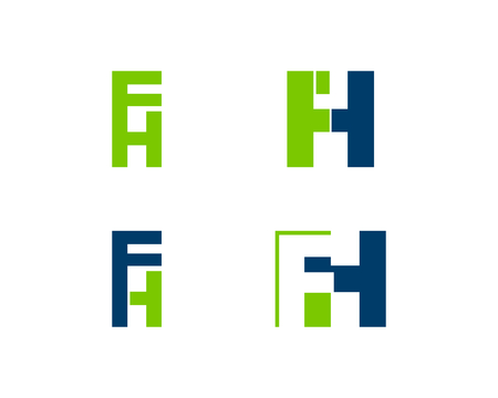 Set of Initial Letter FH Logo Template Design