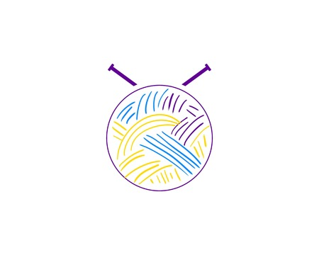 Yarn and knitting needles logo for craft related site or business